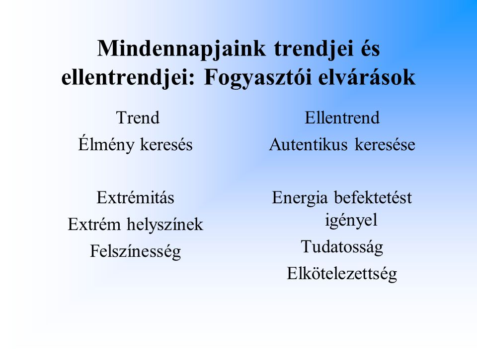 Mindennapjaink trendjei és ellentrendjei: Fogyasztói elvárások
