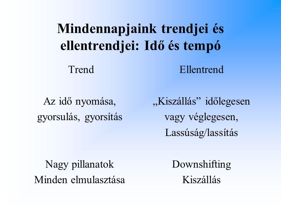 Mindennapjaink trendjei és ellentrendjei: Idő és tempó