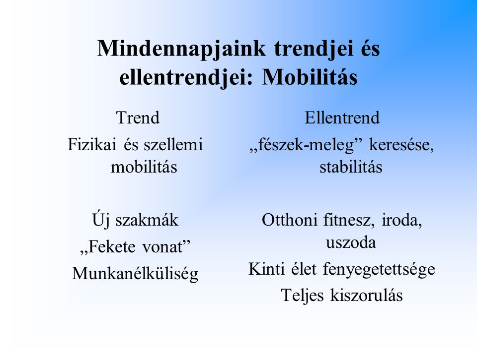 Mindennapjaink trendjei és ellentrendjei: Mobilitás