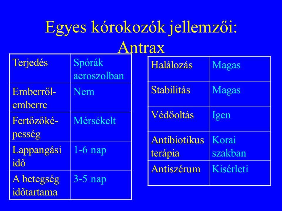 Egyes kórokozók jellemzői: Antrax