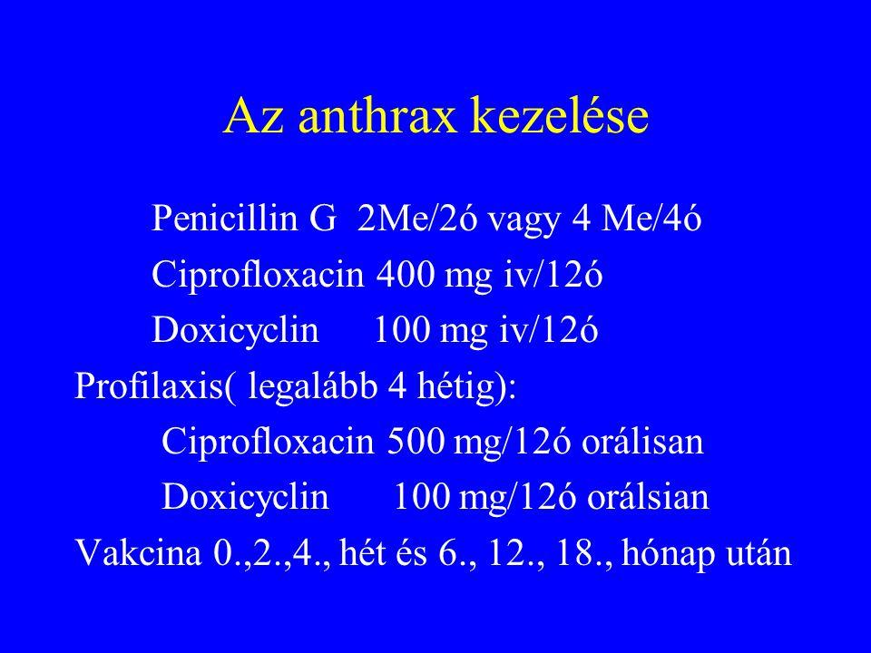 Az anthrax kezelése Penicillin G 2Me/2ó vagy 4 Me/4ó