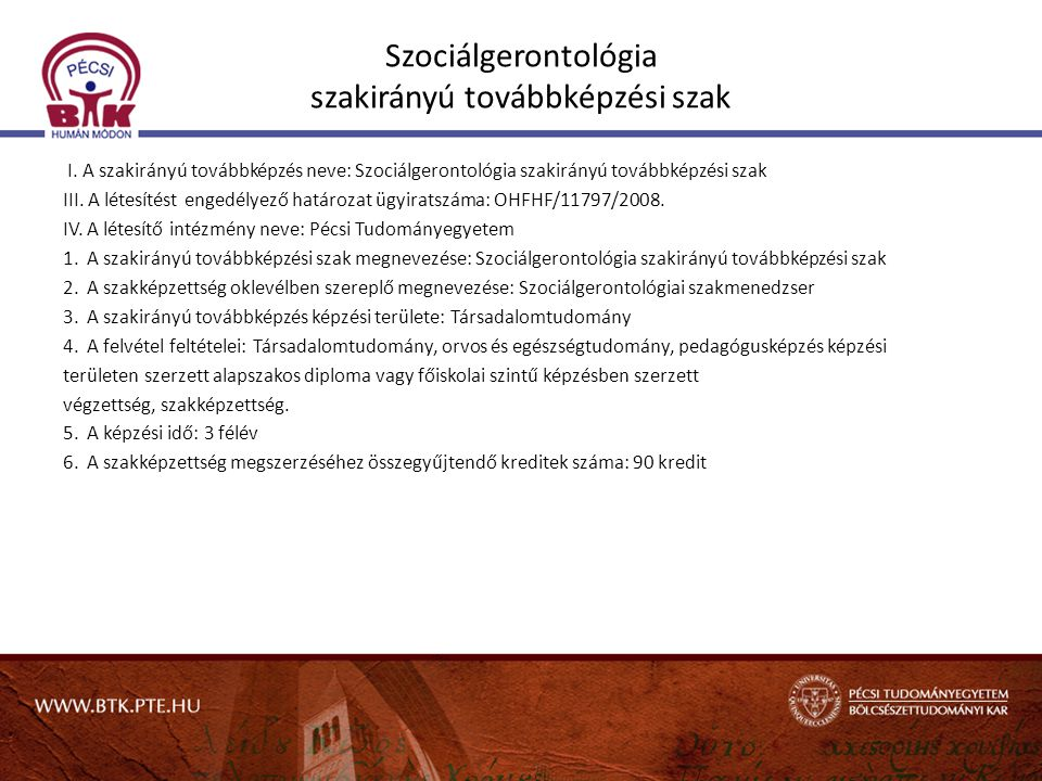 Szociálgerontológia szakirányú továbbképzési szak