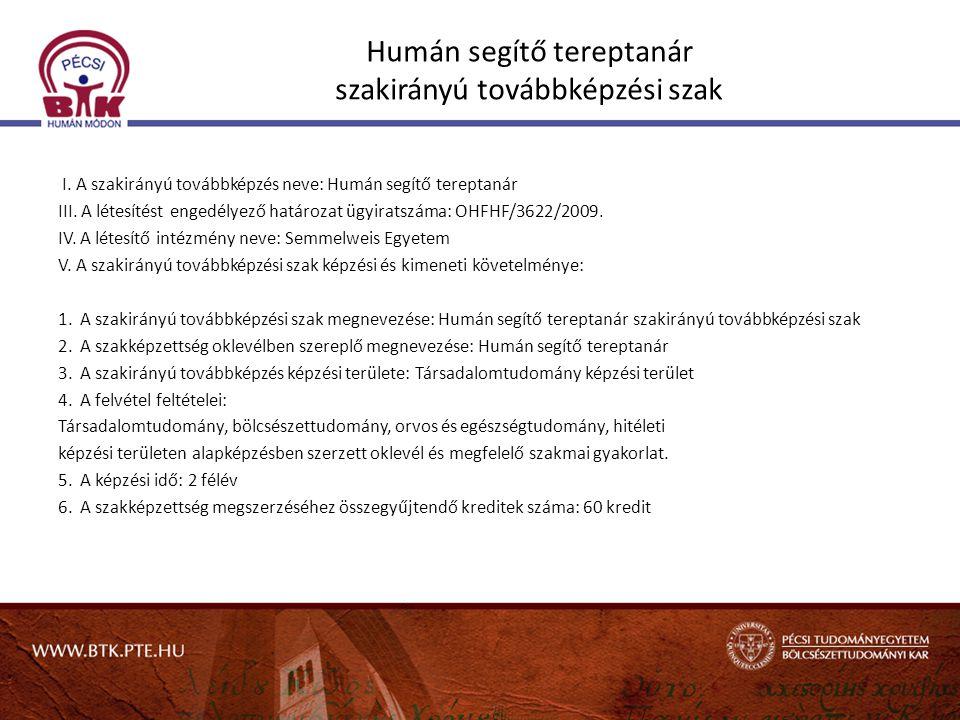 Humán segítő tereptanár szakirányú továbbképzési szak