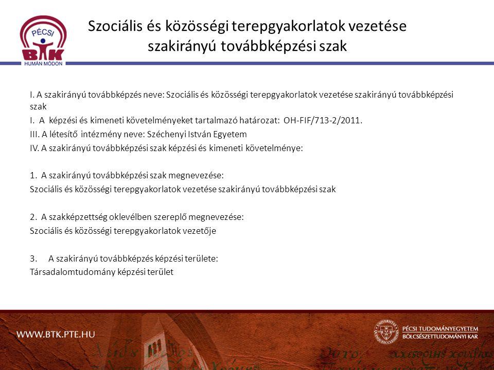 Szociális és közösségi terepgyakorlatok vezetése szakirányú továbbképzési szak