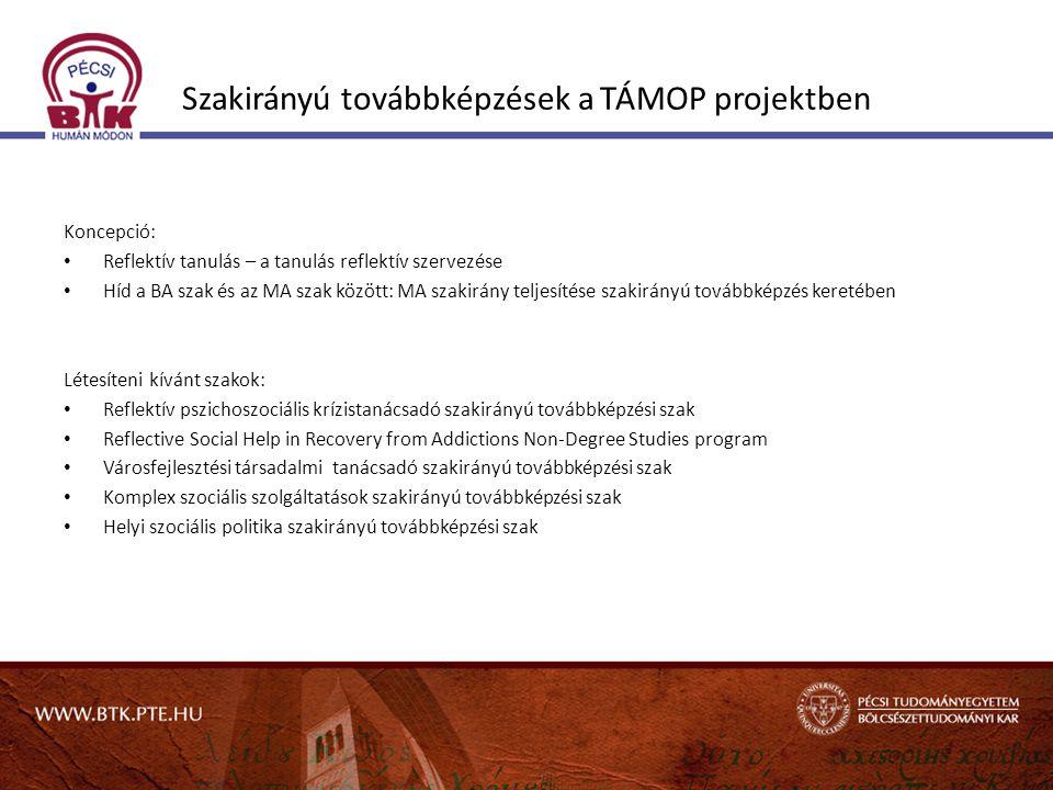 Szakirányú továbbképzések a TÁMOP projektben