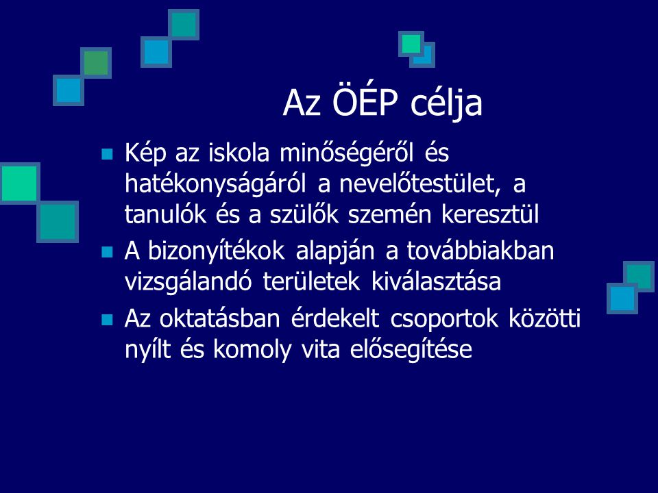 Az ÖÉP célja Kép az iskola minőségéről és hatékonyságáról a nevelőtestület, a tanulók és a szülők szemén keresztül.