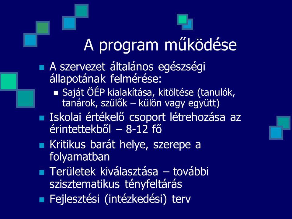 A program működése A szervezet általános egészségi állapotának felmérése: