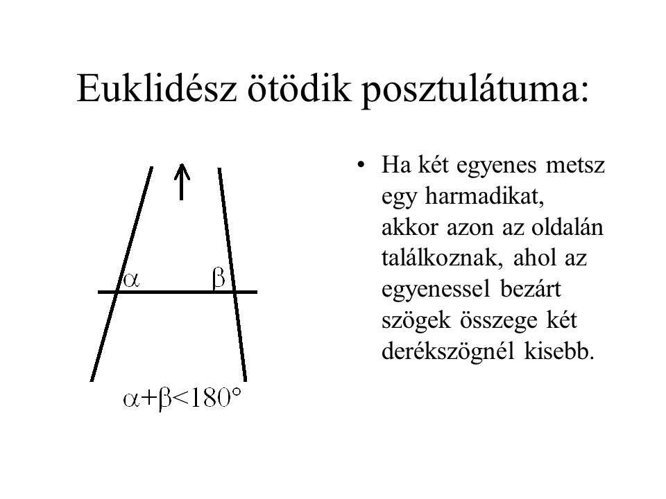 Euklidész ötödik posztulátuma: