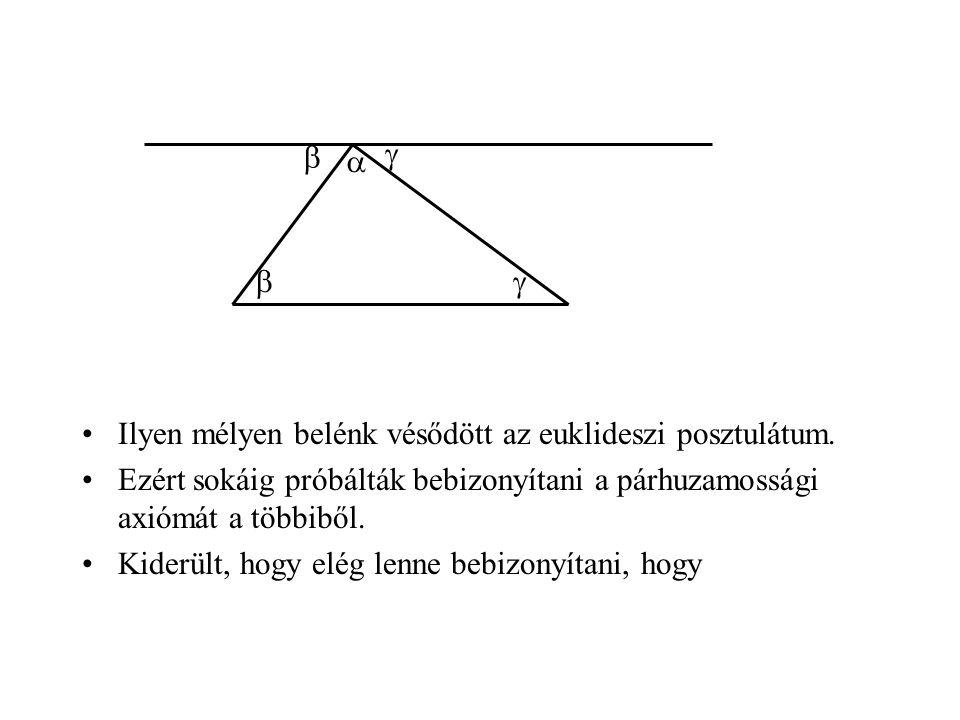      Ilyen mélyen belénk vésődött az euklideszi posztulátum. Ezért sokáig próbálták bebizonyítani a párhuzamossági axiómát a többiből.