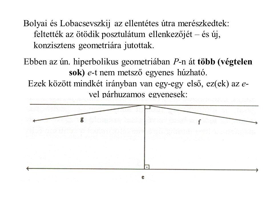 Bolyai és Lobacsevszkij az ellentétes útra merészkedtek: feltették az ötödik posztulátum ellenkezőjét – és új, konzisztens geometriára jutottak.