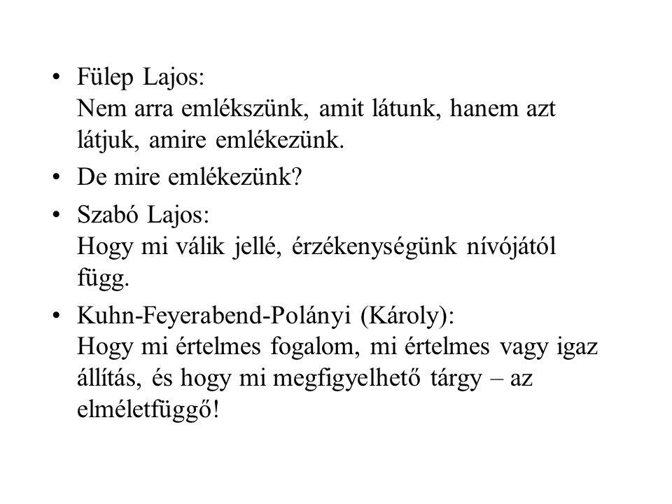 Fülep Lajos: Nem arra emlékszünk, amit látunk, hanem azt látjuk, amire emlékezünk.