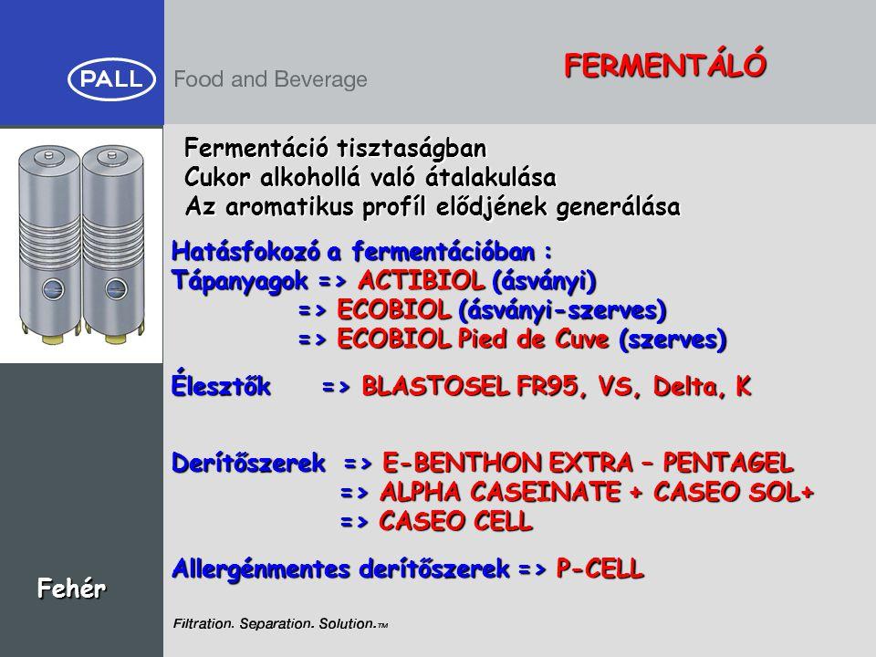 FERMENTÁLÓ Fermentáció tisztaságban Cukor alkohollá való átalakulása