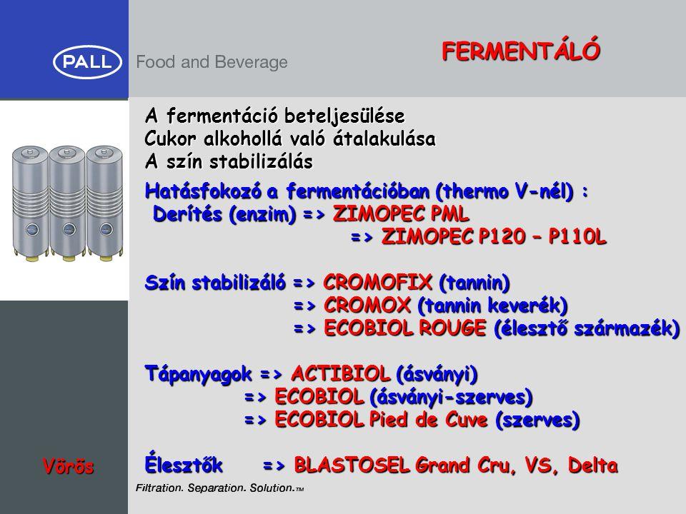 FERMENTÁLÓ A fermentáció beteljesülése
