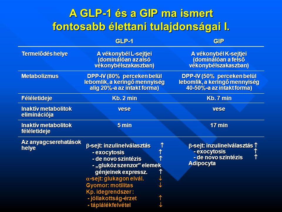 A GLP-1 és a GIP ma ismert fontosabb élettani tulajdonságai I.