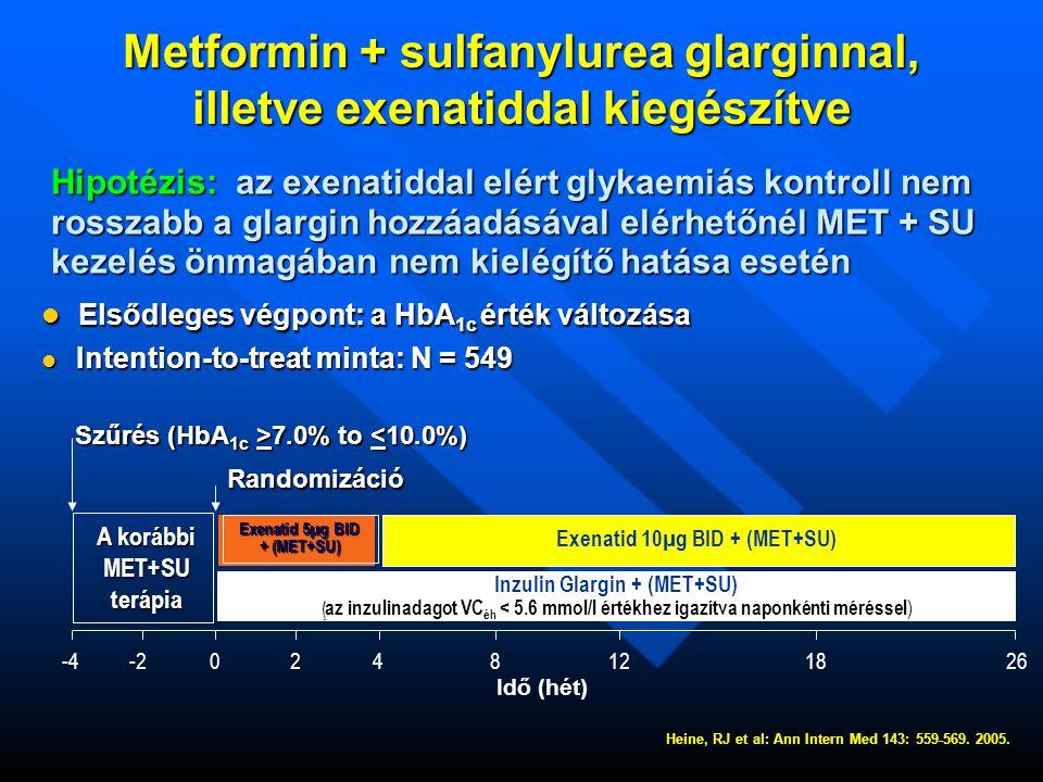 Metformin + sulfanylurea glarginnal, illetve exenatiddal kiegészítve