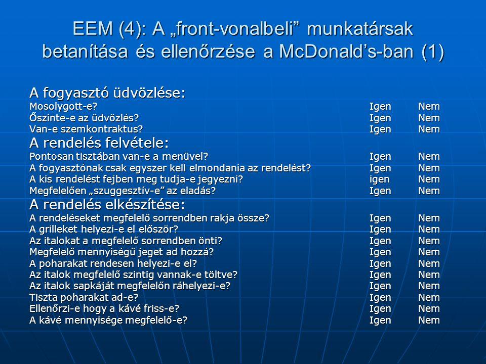 """EEM (4): A """"front-vonalbeli munkatársak betanítása és ellenőrzése a McDonald's-ban (1)"""