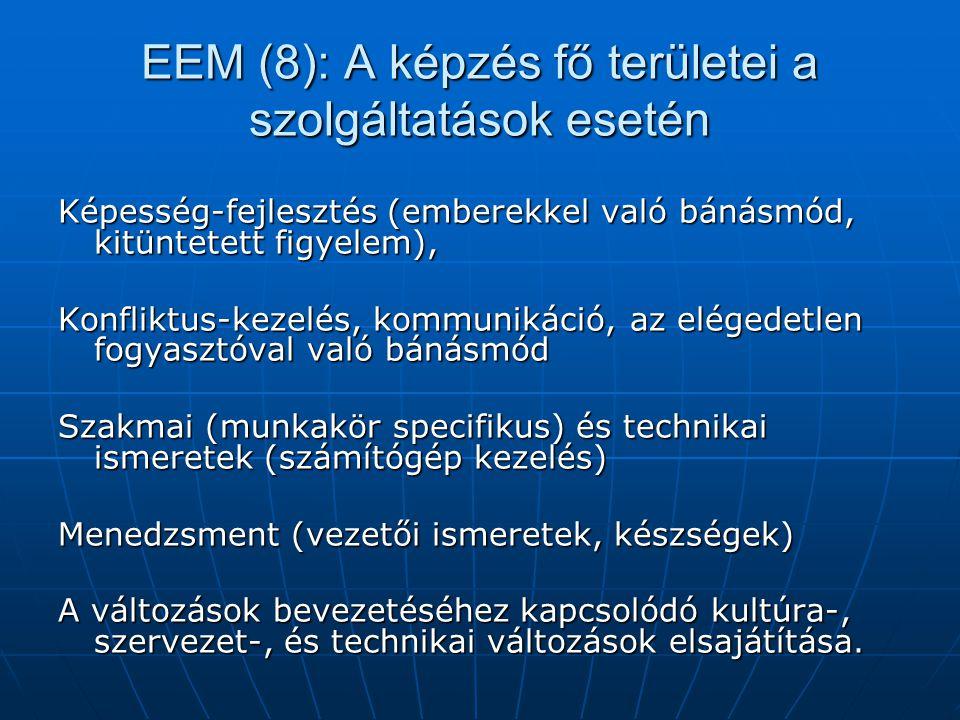 EEM (8): A képzés fő területei a szolgáltatások esetén
