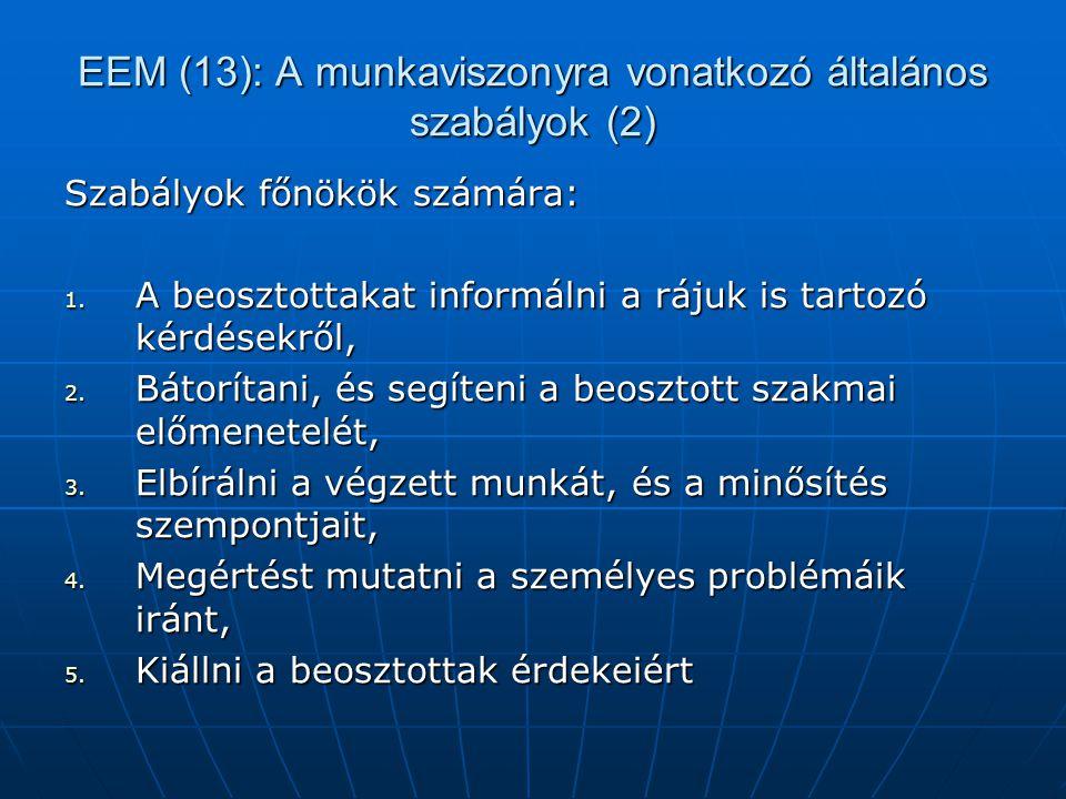EEM (13): A munkaviszonyra vonatkozó általános szabályok (2)