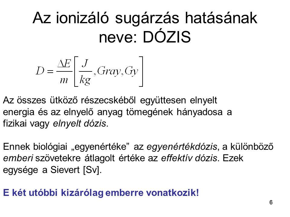 Az ionizáló sugárzás hatásának neve: DÓZIS