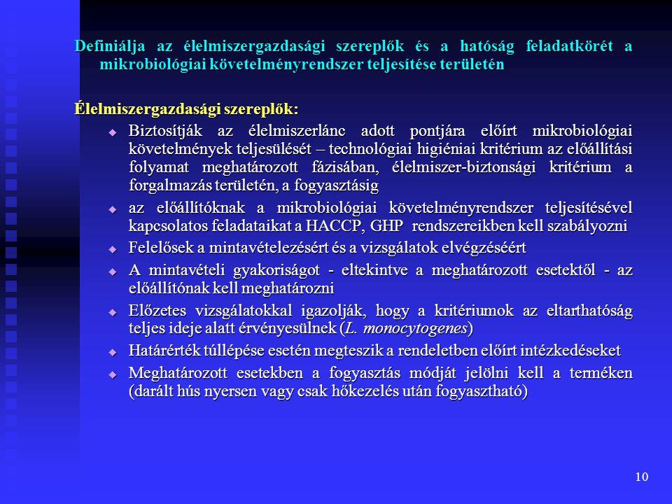 Definiálja az élelmiszergazdasági szereplők és a hatóság feladatkörét a mikrobiológiai követelményrendszer teljesítése területén