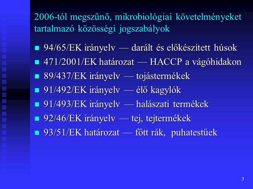 2006-tól megszűnő, mikrobiológiai követelményeket tartalmazó közösségi jogszabályok