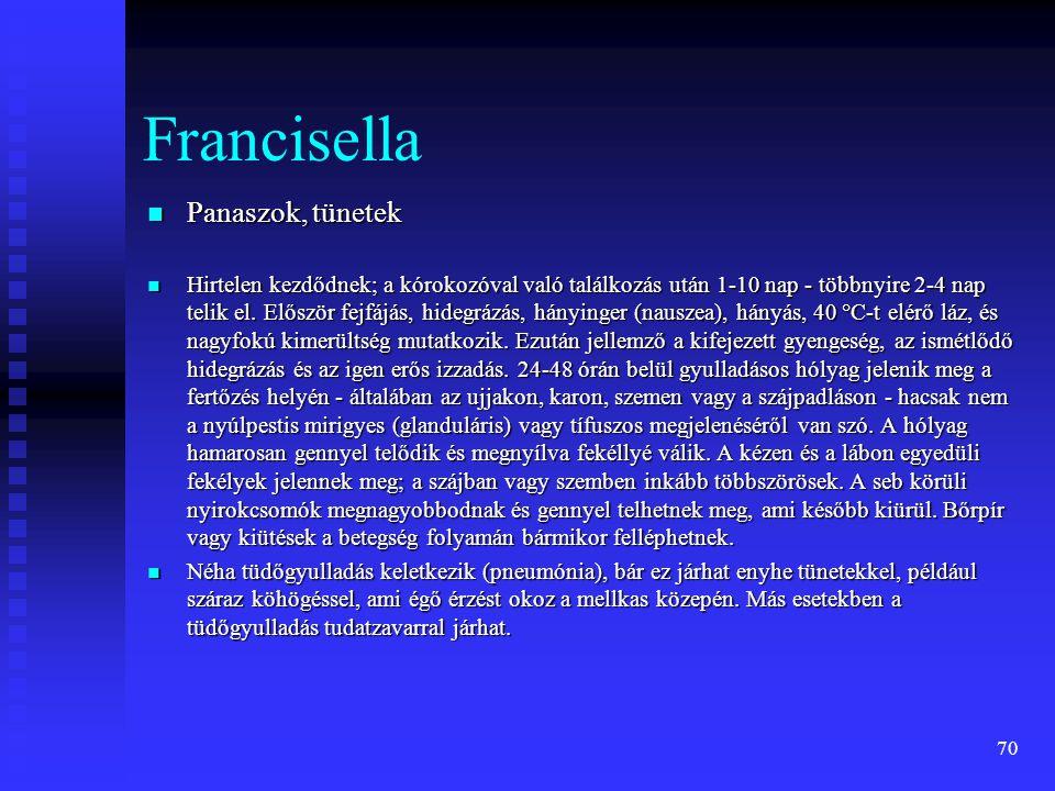 Francisella Panaszok, tünetek