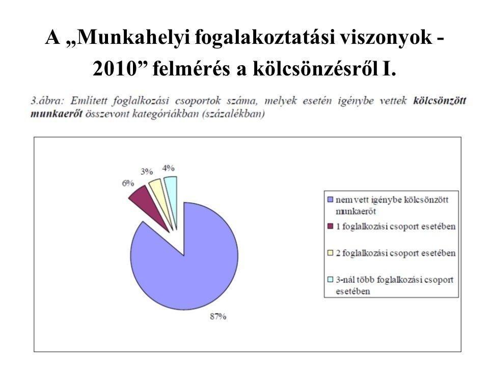 """A """"Munkahelyi fogalakoztatási viszonyok -2010 felmérés a kölcsönzésről I."""