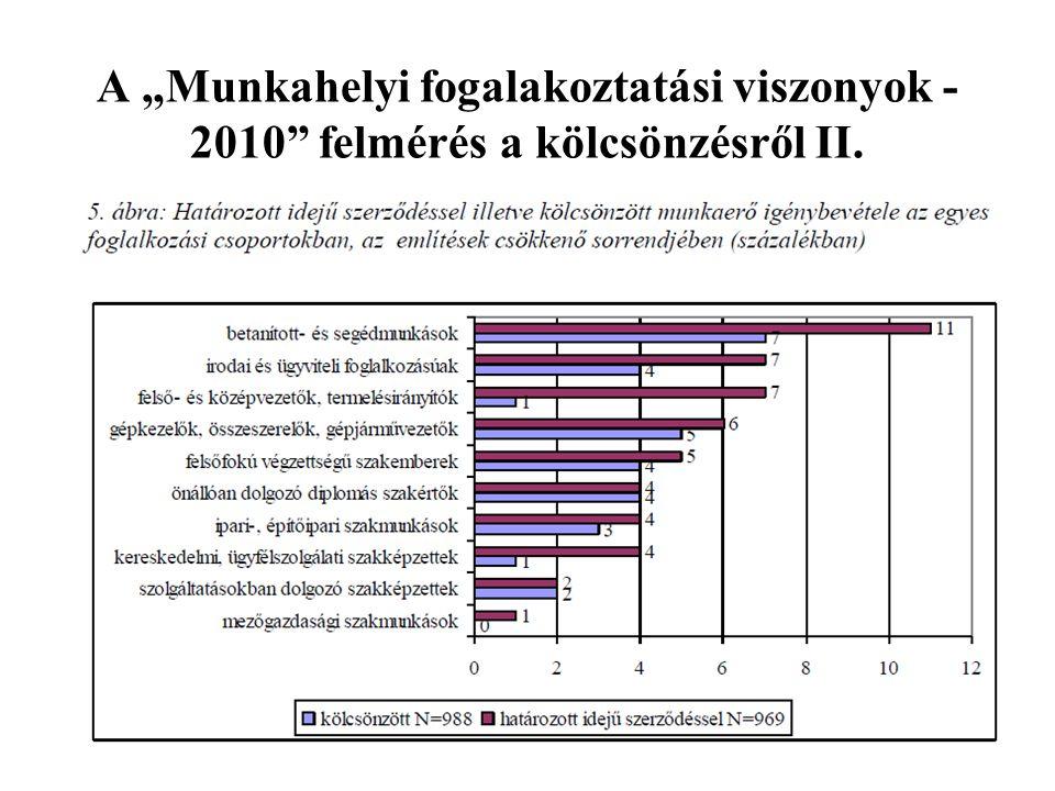"""A """"Munkahelyi fogalakoztatási viszonyok -2010 felmérés a kölcsönzésről II."""