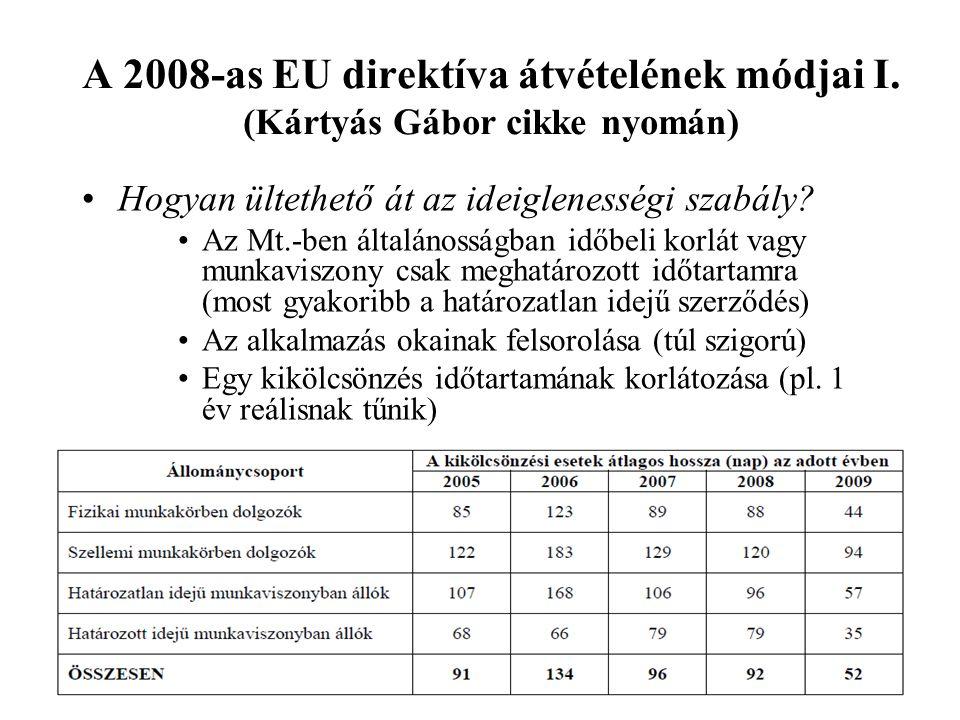 A 2008-as EU direktíva átvételének módjai I