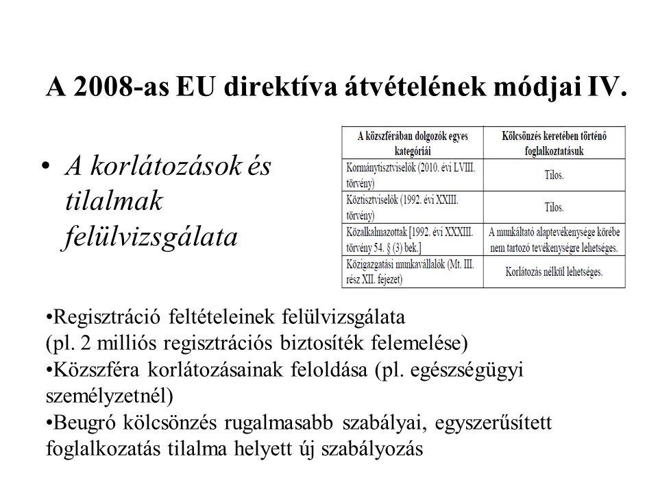 A 2008-as EU direktíva átvételének módjai IV.