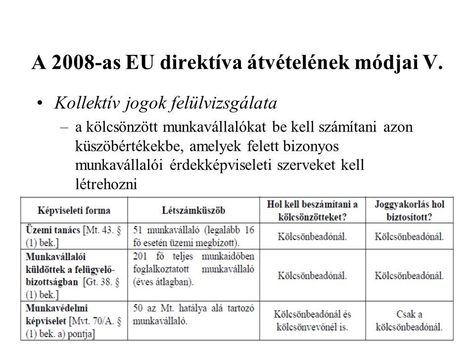 A 2008-as EU direktíva átvételének módjai V.