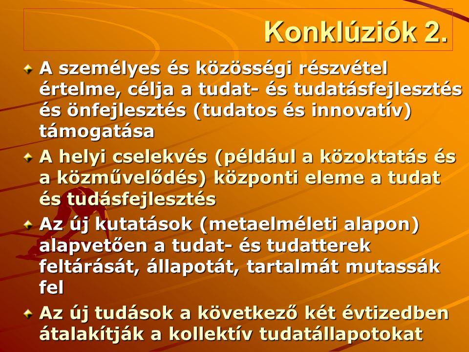 Konklúziók 2. A személyes és közösségi részvétel értelme, célja a tudat- és tudatásfejlesztés és önfejlesztés (tudatos és innovatív) támogatása.