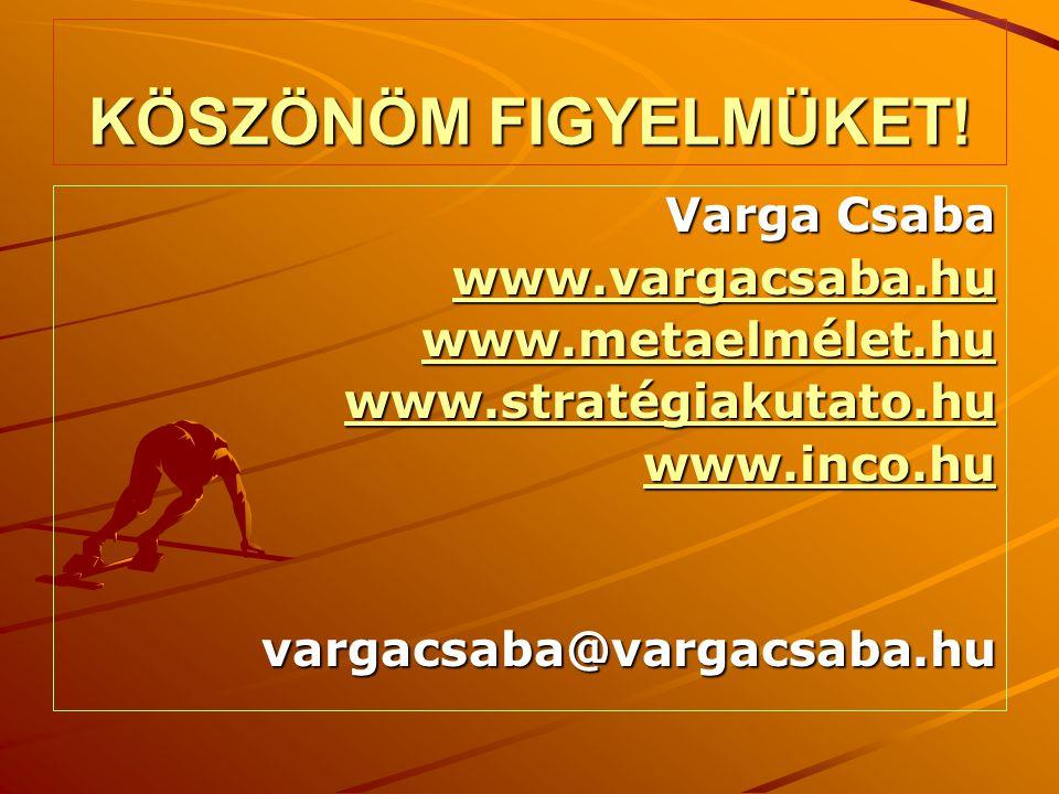 KÖSZÖNÖM FIGYELMÜKET! Varga Csaba www.vargacsaba.hu www.metaelmélet.hu