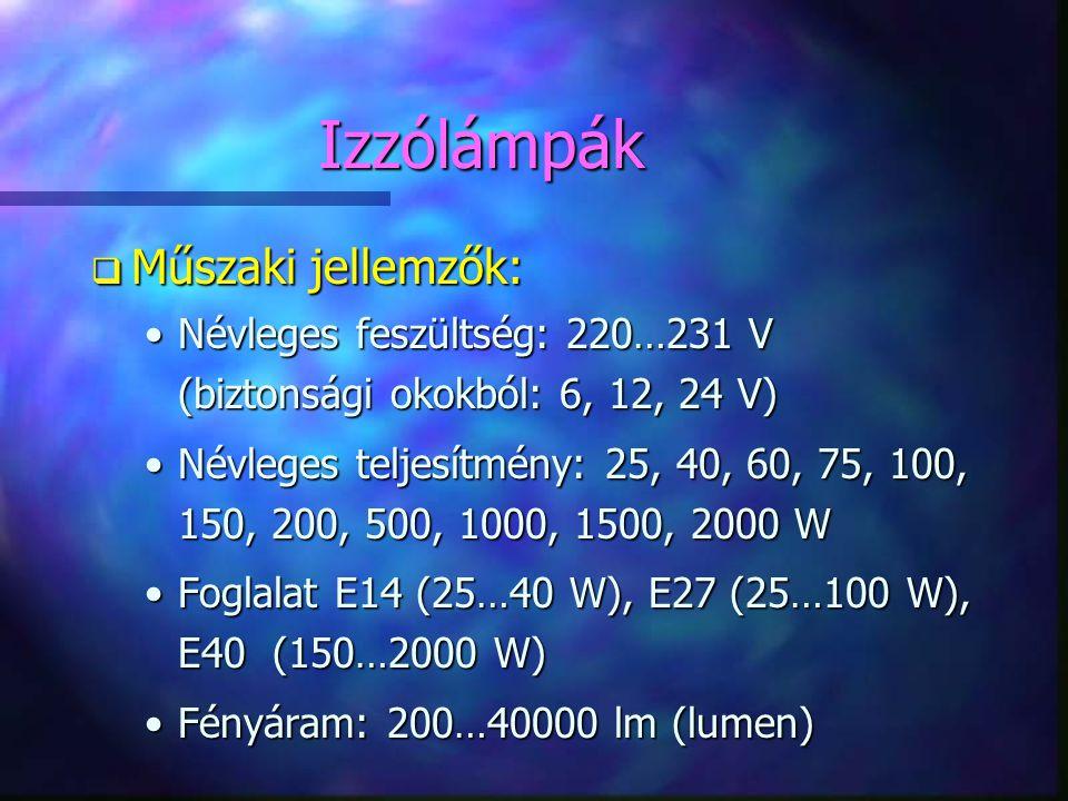 Izzólámpák Műszaki jellemzők: