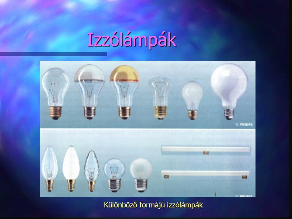 Különböző formájú izzólámpák