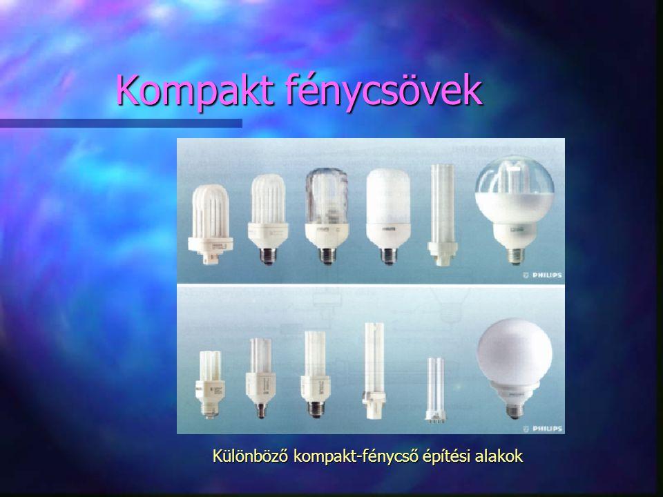 Különböző kompakt-fénycső építési alakok