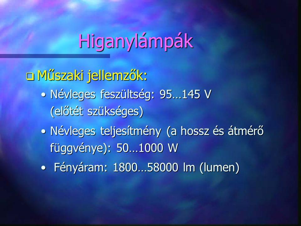 Higanylámpák Műszaki jellemzők: