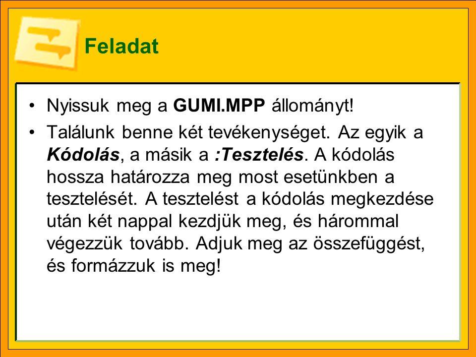 Feladat Nyissuk meg a GUMI.MPP állományt!