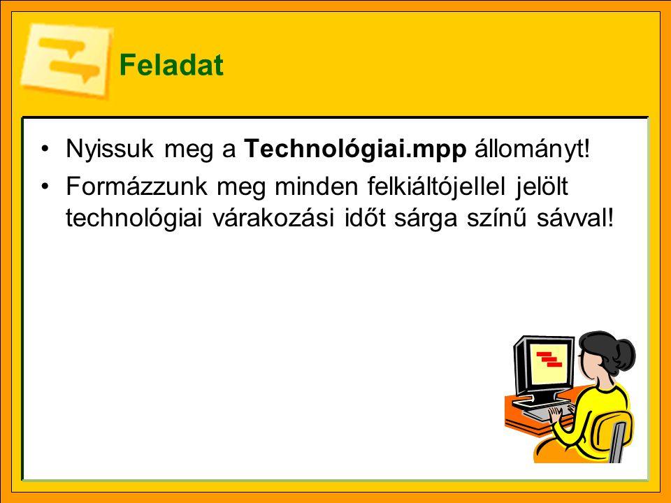 Feladat Nyissuk meg a Technológiai.mpp állományt!