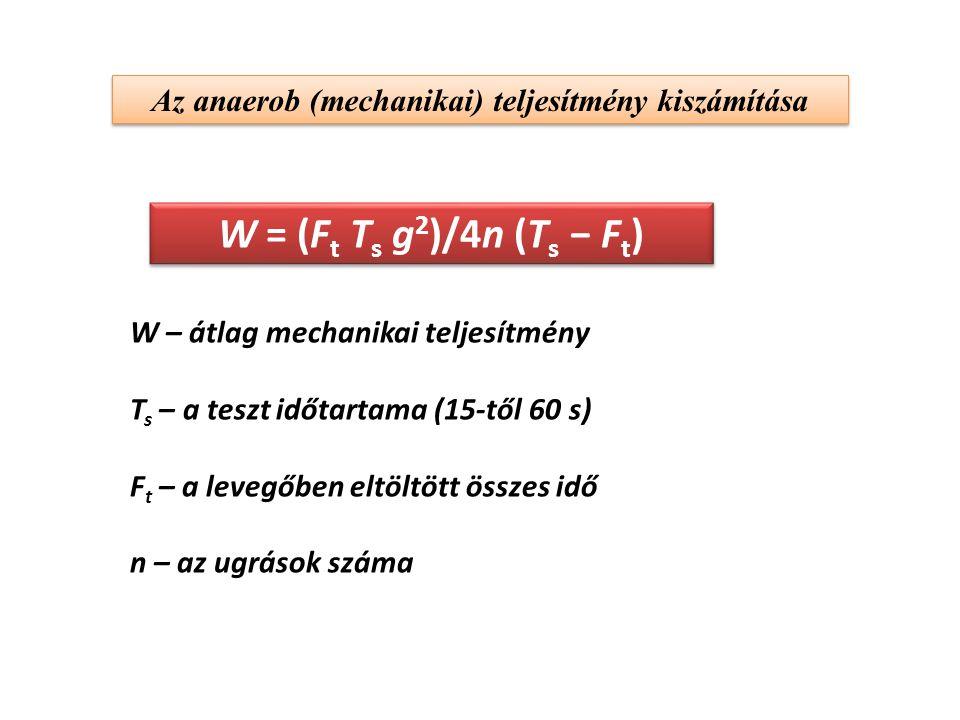 Az anaerob (mechanikai) teljesítmény kiszámítása