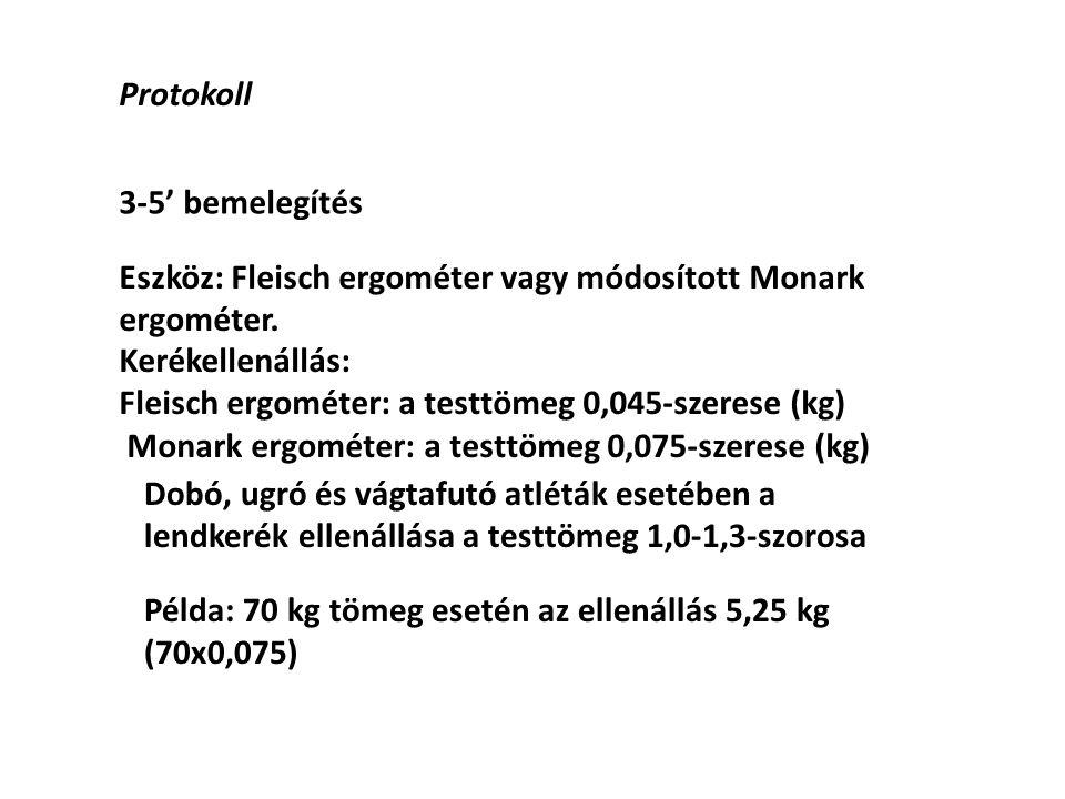 Protokoll 3-5' bemelegítés. Eszköz: Fleisch ergométer vagy módosított Monark ergométer. Kerékellenállás: