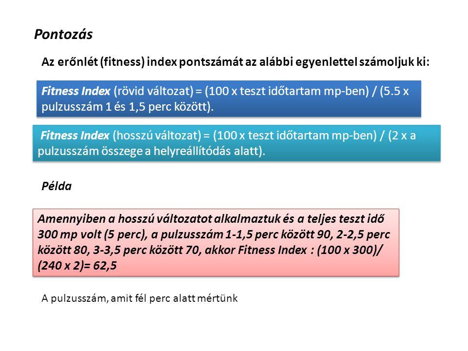 Pontozás Az erőnlét (fitness) index pontszámát az alábbi egyenlettel számoljuk ki: