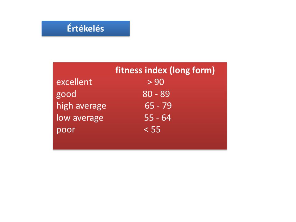 Értékelés fitness index (long form) excellent > 90. good 80 - 89.