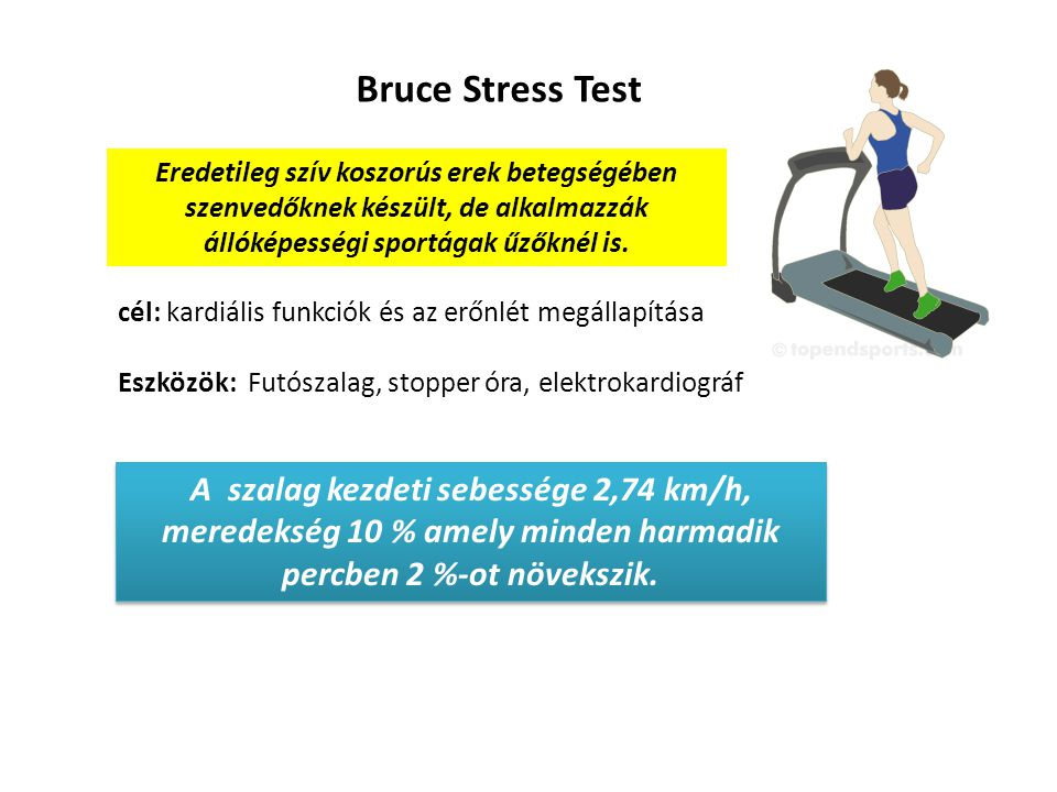 Bruce Stress Test Eredetileg szív koszorús erek betegségében szenvedőknek készült, de alkalmazzák állóképességi sportágak űzőknél is.