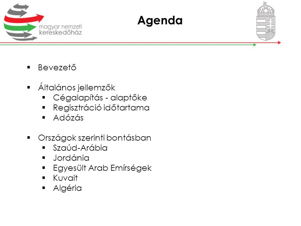 Agenda Bevezető Általános jellemzők Cégalapítás - alaptőke