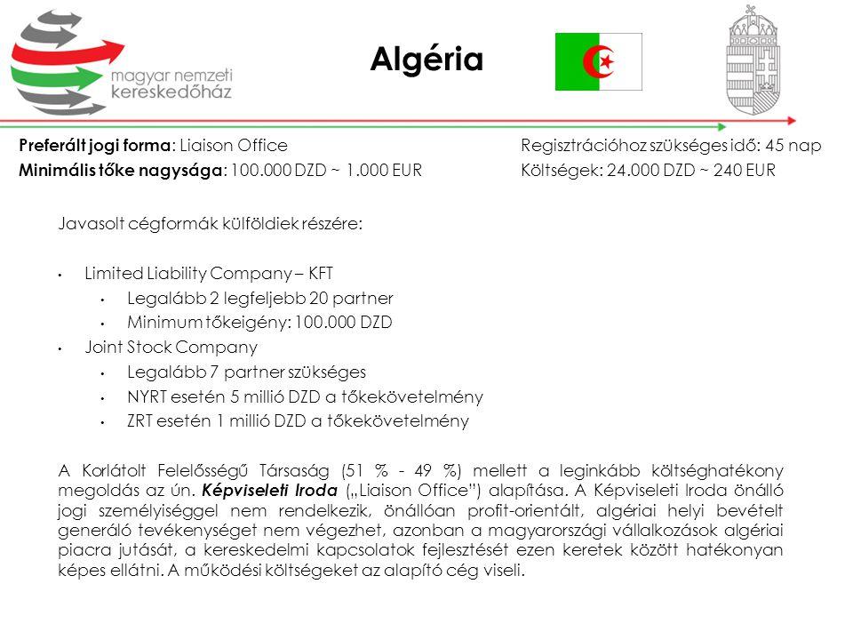 Algéria Preferált jogi forma: Liaison Office Regisztrációhoz szükséges idő: 45 nap.
