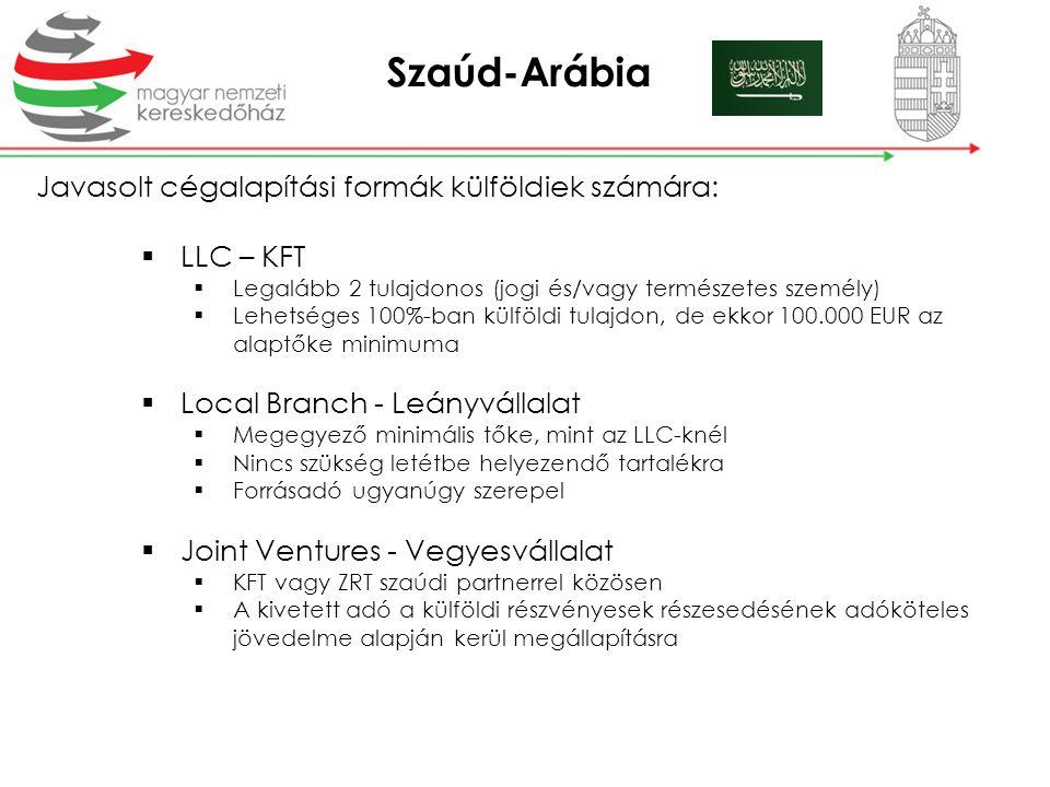 Szaúd-Arábia Javasolt cégalapítási formák külföldiek számára:
