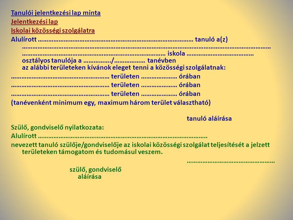 Tanulói jelentkezési lap minta