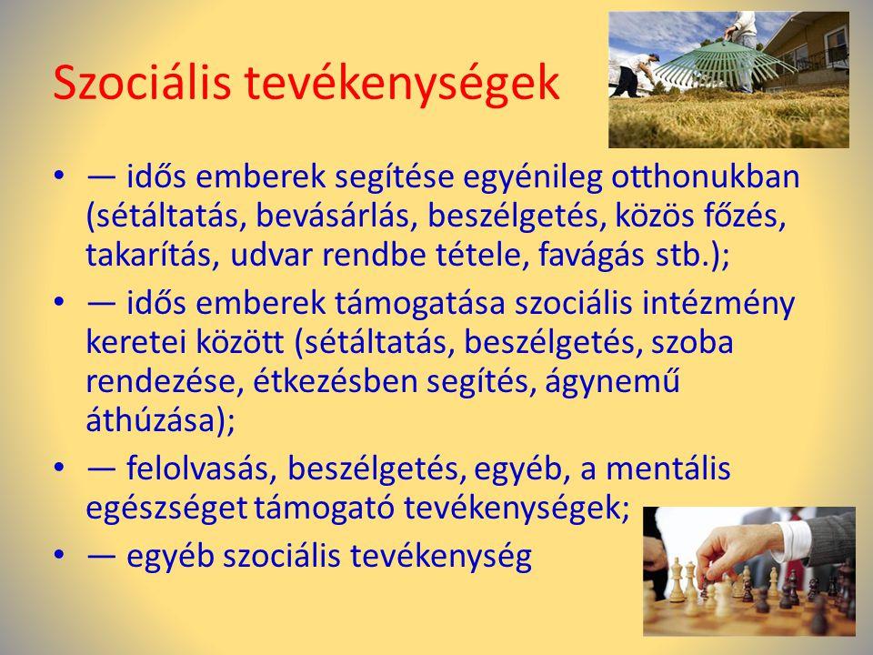 Szociális tevékenységek
