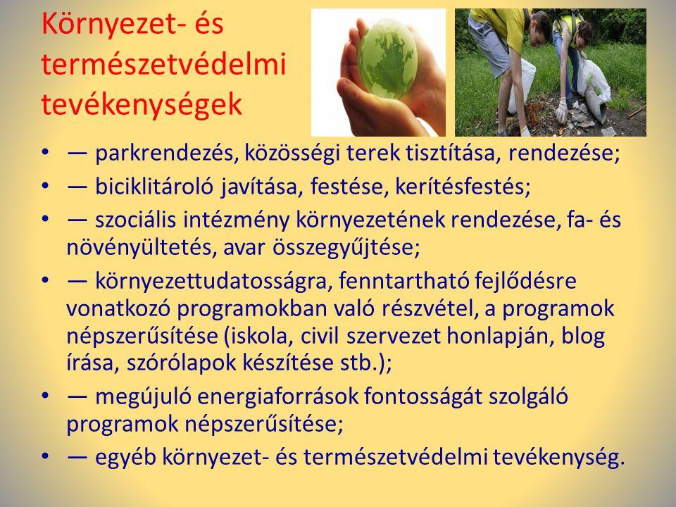 Környezet- és természetvédelmi tevékenységek